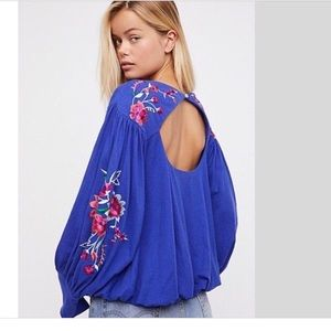Free People Blue Lita Embroidered Top